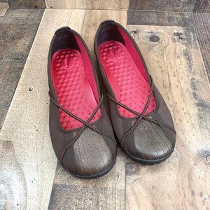 Clarks Privo Penny Brown Stitched Pink Mesh Flats
